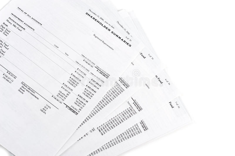 Download Financial Summary Statements Stock Photo - Image: 21233362