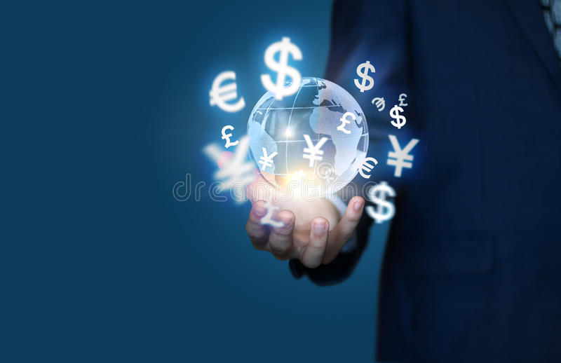 Financial symbols coming from hand. The concept of global business stock images