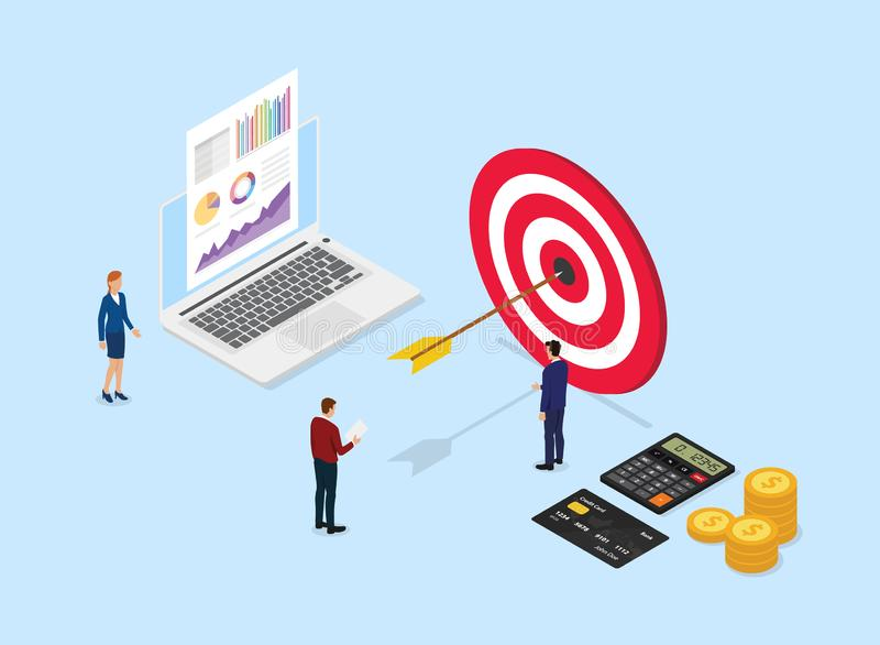 Financial target company with big dart and team office people around it analyze data graph and chart with isometric style - vector. Illustration vector illustration