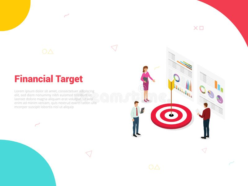 Financial target company with big dart and team office people around it analyze data graph and chart with for website template or. Landing homepage isometric vector illustration