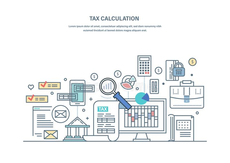 Financial tax calculations, accounting research, counting profit, income, business audit. royalty free illustration
