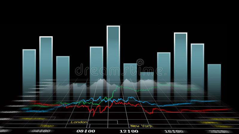 Financial and technical charts. Financial and technical data analysis graphs showing on the computer monitor vector illustration