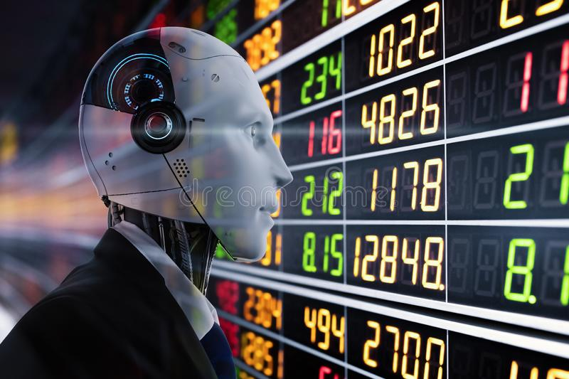 Financial technology concept. With 3d rendering humanoid robot analyze stock market stock illustration