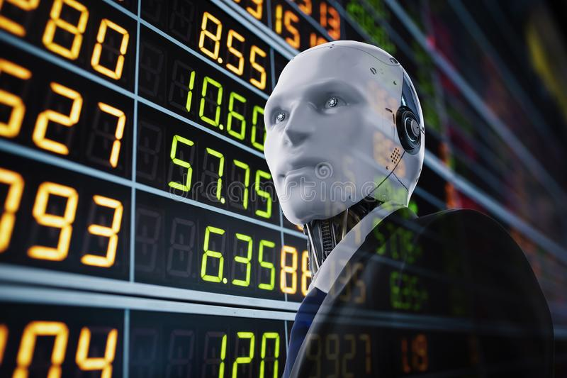 Financial technology concept. With 3d rendering humanoid robot analyze stock market vector illustration