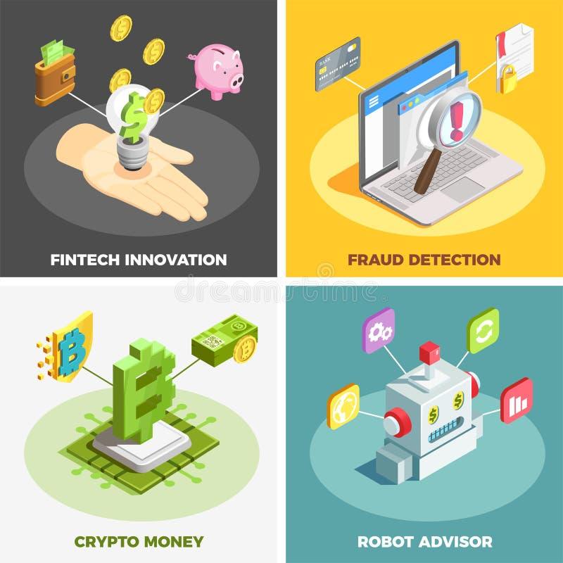 Financial Technology 2x2 Design Concept vector illustration