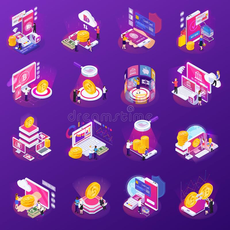 Financial Technology Glow Isometric Icons royalty free illustration