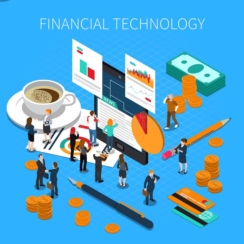Financial Technology Isometric Composition stock illustration