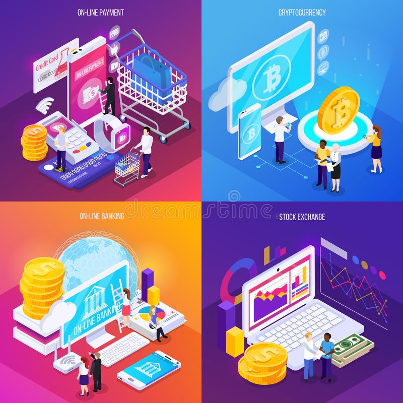 Financial Technology Isometric Design Concept vector illustration