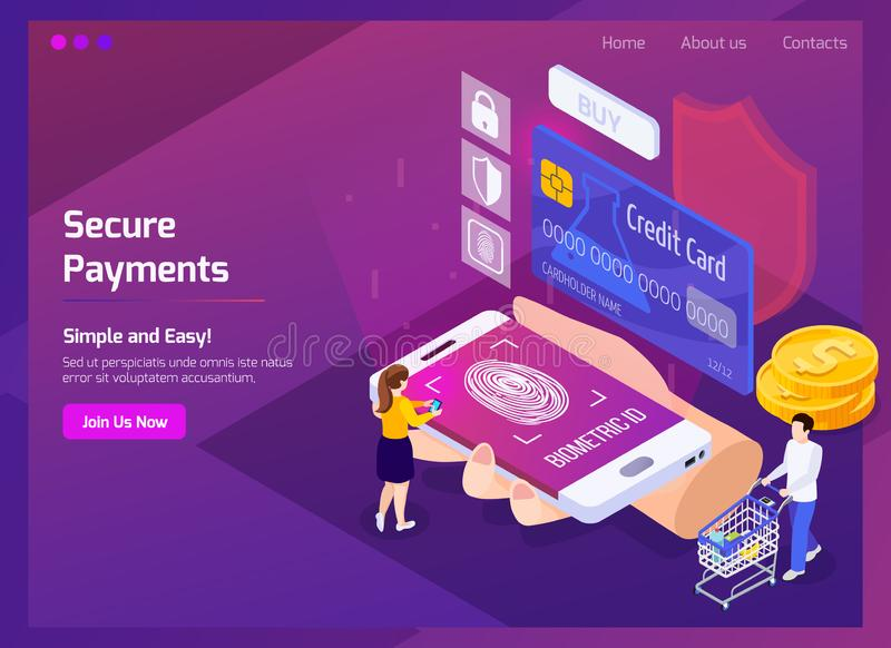 Financial Technology Isometric Web Page vector illustration