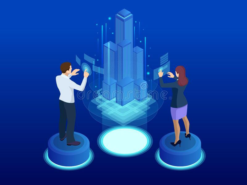 Financial technology, Smart city isometric concept. Miniature model city and communication network. Internet and vector illustration