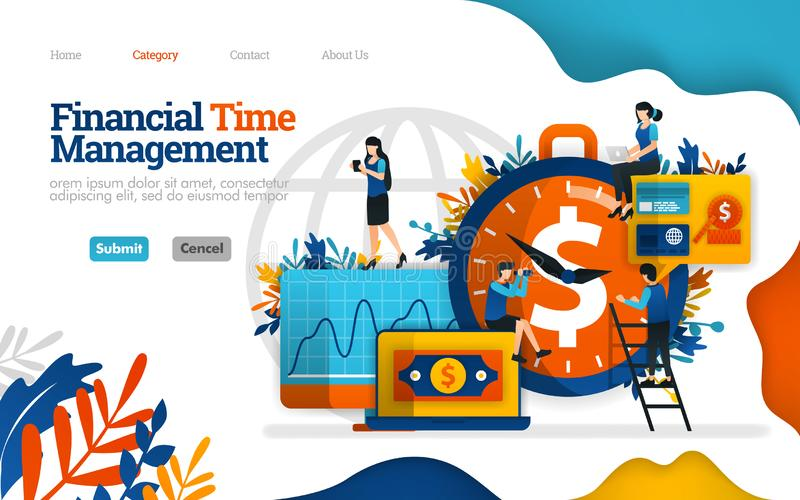 Financial Time Management. manage finances effectively. best investment partner is time. Vector flat illustration concept, can use. For, landing page, template royalty free illustration