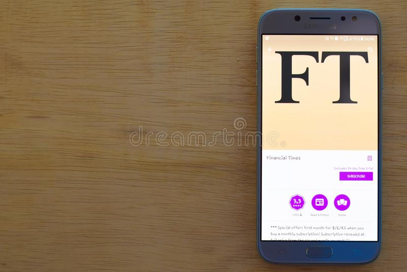 Financial Times-Entwickler-Anwendung auf Smartphone-Schirm lizenzfreie stockbilder