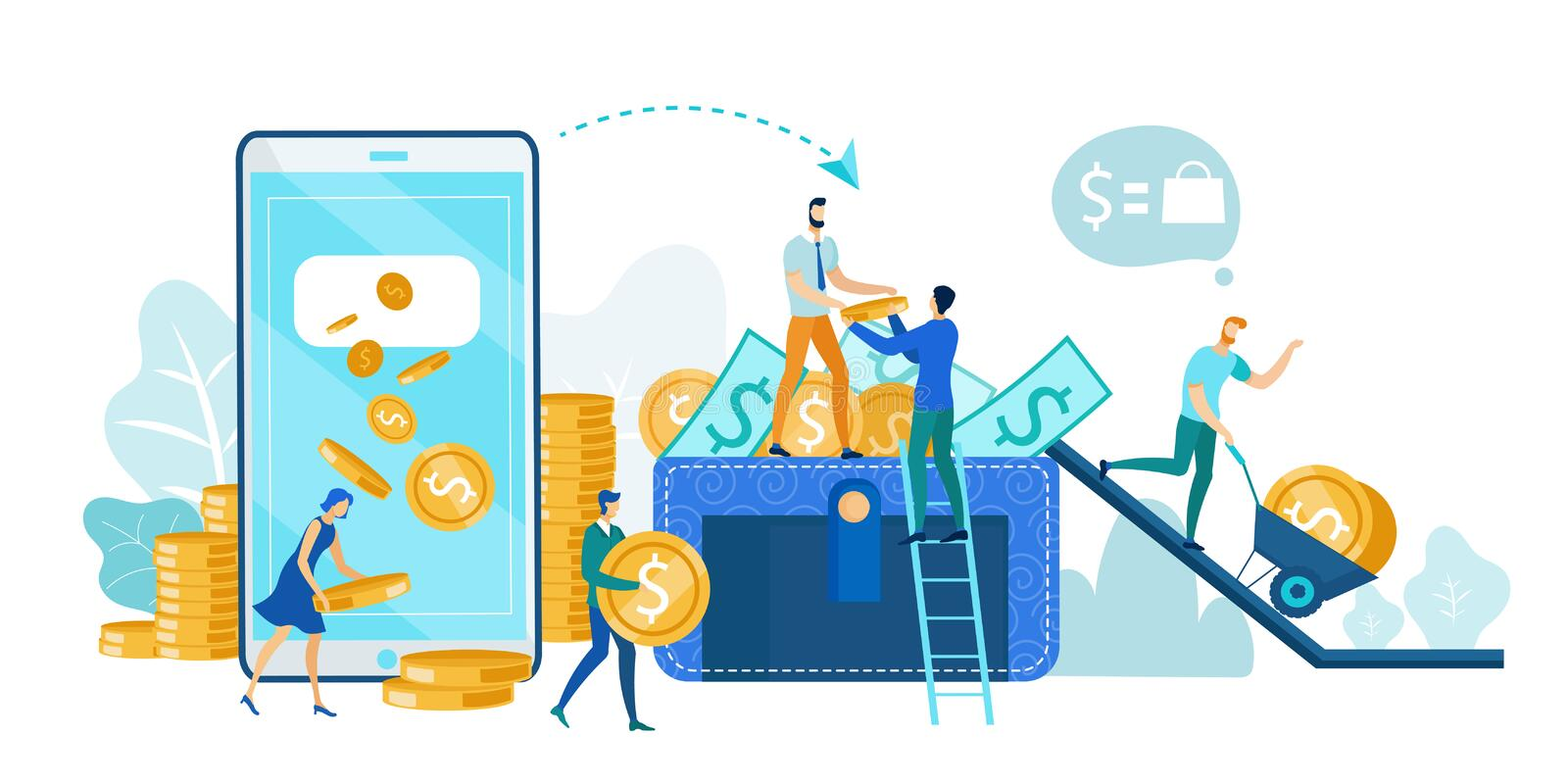 Financial Transaction, Mobile Banking on Phone. Financial Transaction, Mobile Banking on Smartphone Flat Cartoon Vector Illustration. Donation or Earnings. For stock illustration