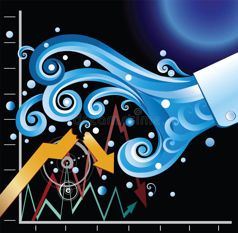 Financial Tsunami. The financial tsunami causing the stock market crash royalty free illustration