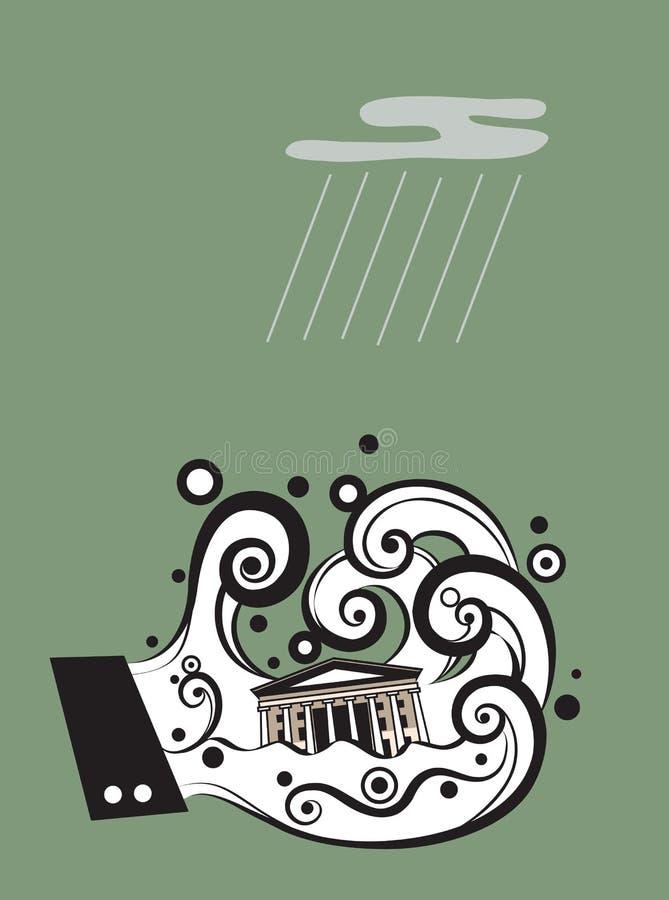 Financial Tsunami. The bank finacial system has been destroyed by financial tsunami royalty free illustration