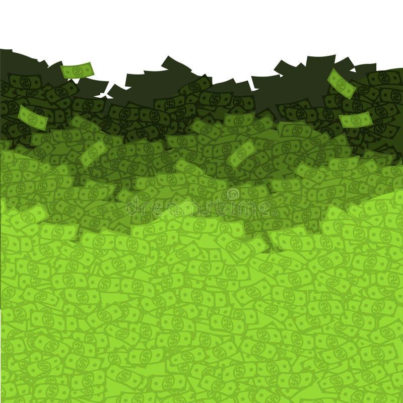 Financial waves. Ocean money. Sea of cash. Mount dollars. royalty free illustration