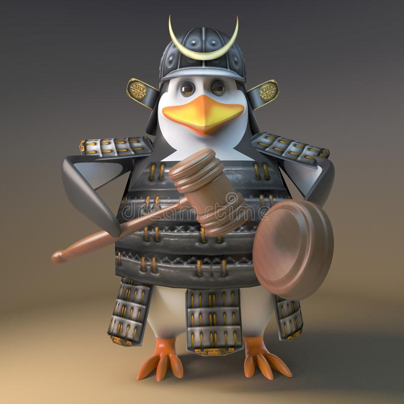 Financially astute Japanese samurai warrior penguin holds an auction, 3d illustration. Render vector illustration