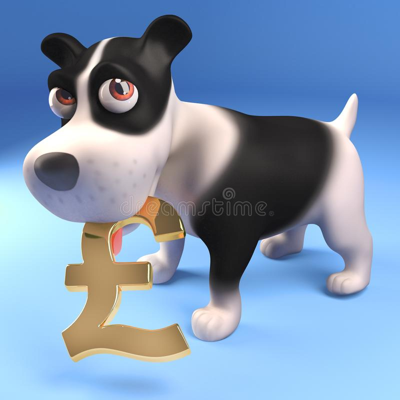Financially astute puppy dog holds gold UK pounds sterling symbol, 3d illustration. Render royalty free illustration