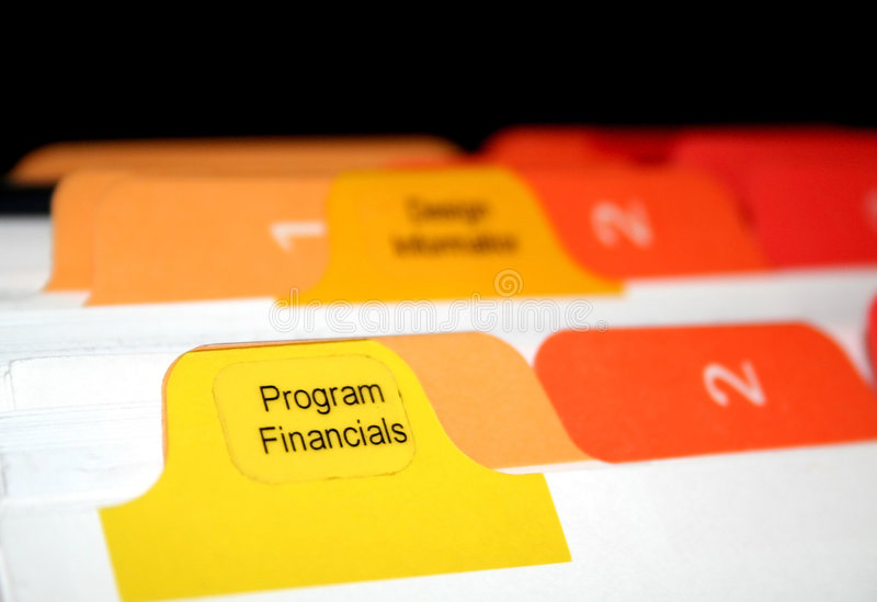 Financials di programma fotografia stock