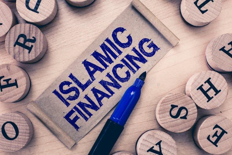 Financiamento islâmico do texto da escrita da palavra Conceito do negócio para depositar a atividade e o investimento que cumpre  imagens de stock royalty free