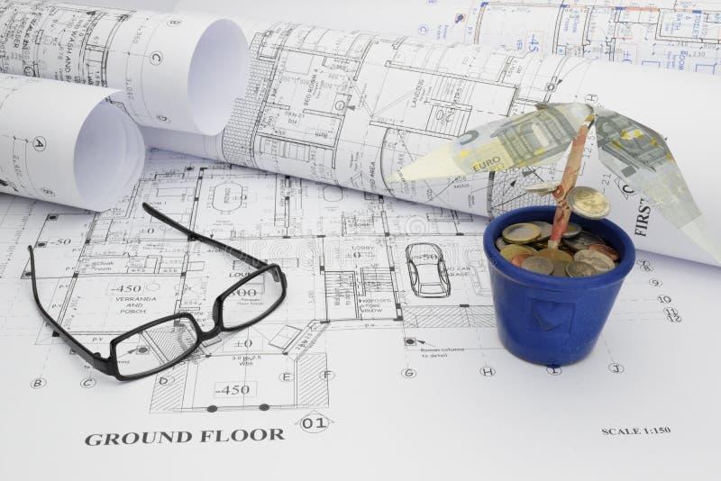 Financiando o projeto de construção da casa ideal fotos de stock royalty free