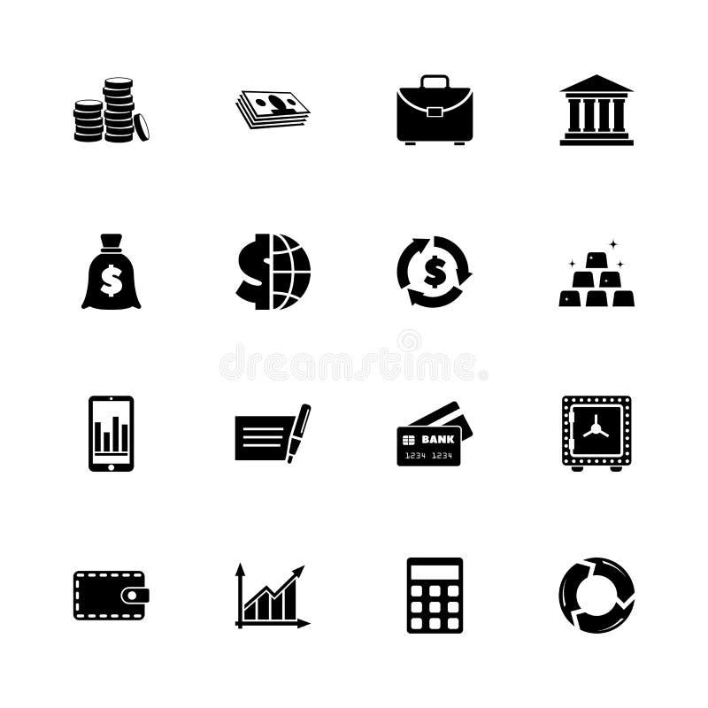 Financical - ícones lisos do vetor ilustração stock