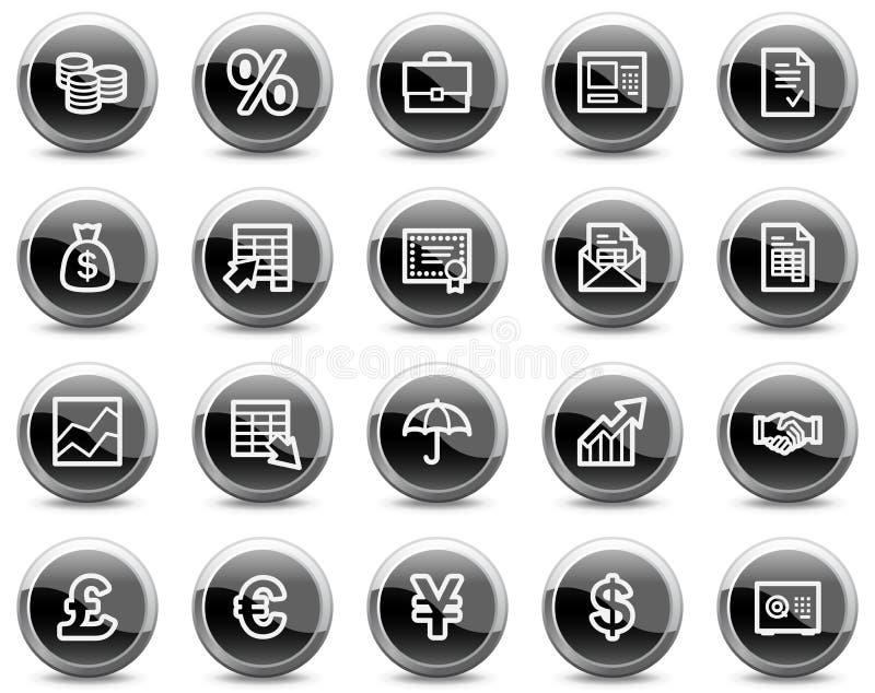 Financie ícones do Web, teclas lustrosas pretas do círculo ilustração do vetor