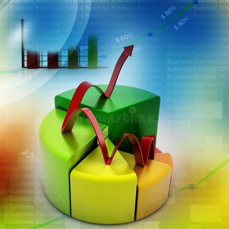 Financie gráficos da carta da torta e de barra com seta crescente ilustração do vetor