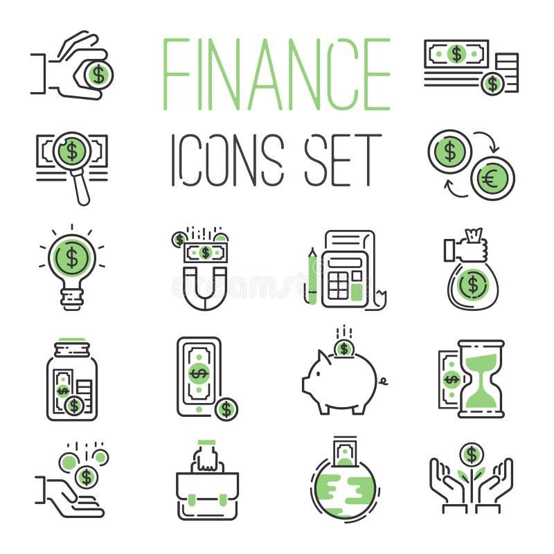 Financie los ahorros del gráfico de la contabilidad de la riqueza del negro del esquema del negocio de dinero y el banco verde fi stock de ilustración