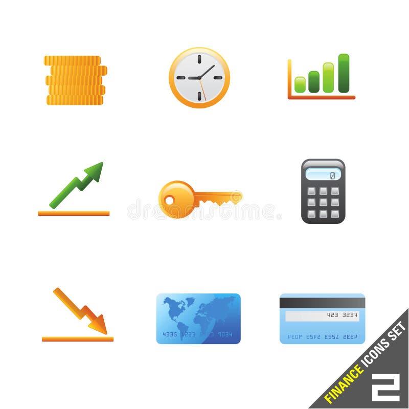 financie o ícone ajustam 2 ilustração do vetor