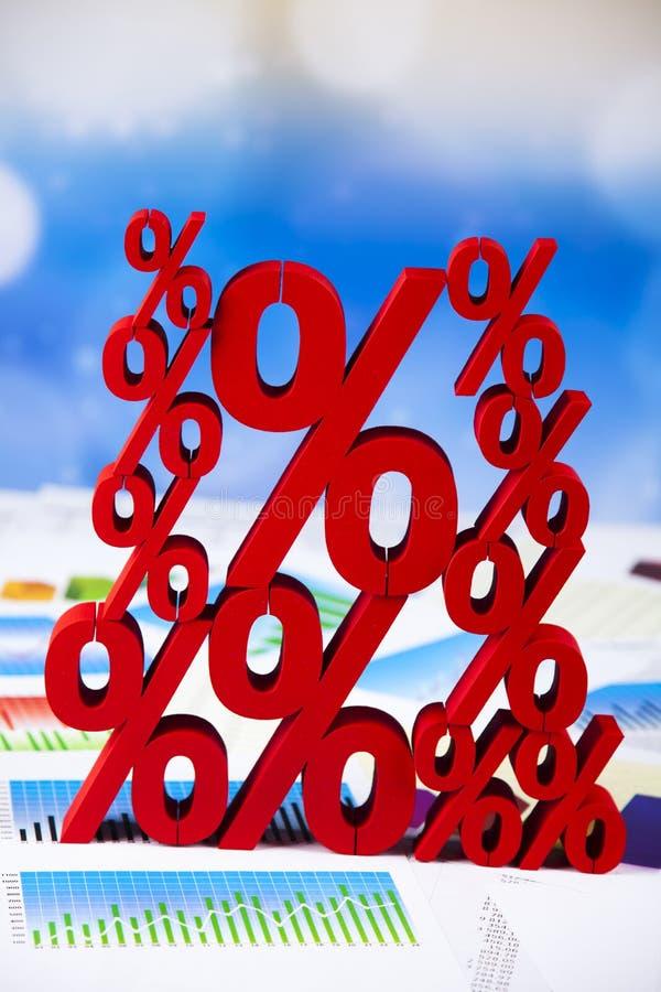 Financie o conceito, por cento, tom colorido natural imagem de stock
