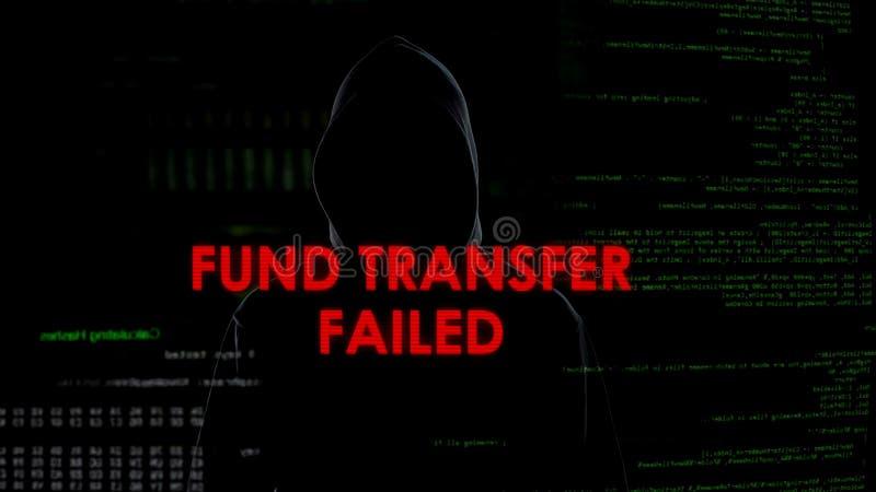 Financie transferência falhada, tentativa mal sucedida de roubar o dinheiro da conta bancária imagem de stock