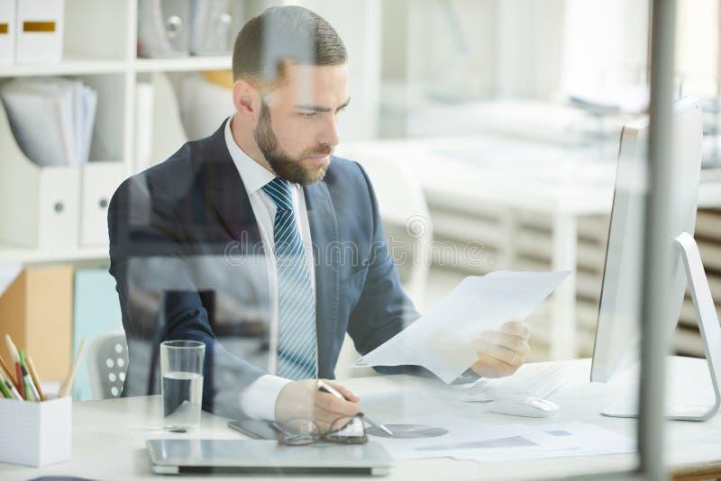Financieel analist op het werk royalty-vrije stock afbeeldingen