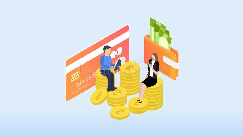 Financieel Beheer Concept Kan voor Webbanner, infographics, heldenbeelden gebruiken Vlakke isometrische elementen vectorillustrat royalty-vrije illustratie