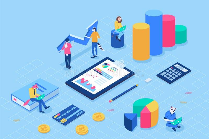 Financieel beleidsconcept met karakters Kan voor Webbanner, infographics, heldenbeelden gebruiken Vlakke Isometrisch royalty-vrije illustratie