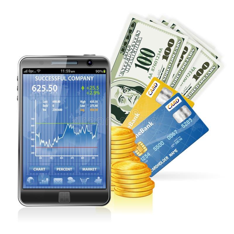 Financieel Concept - maak Geld op Internet royalty-vrije illustratie