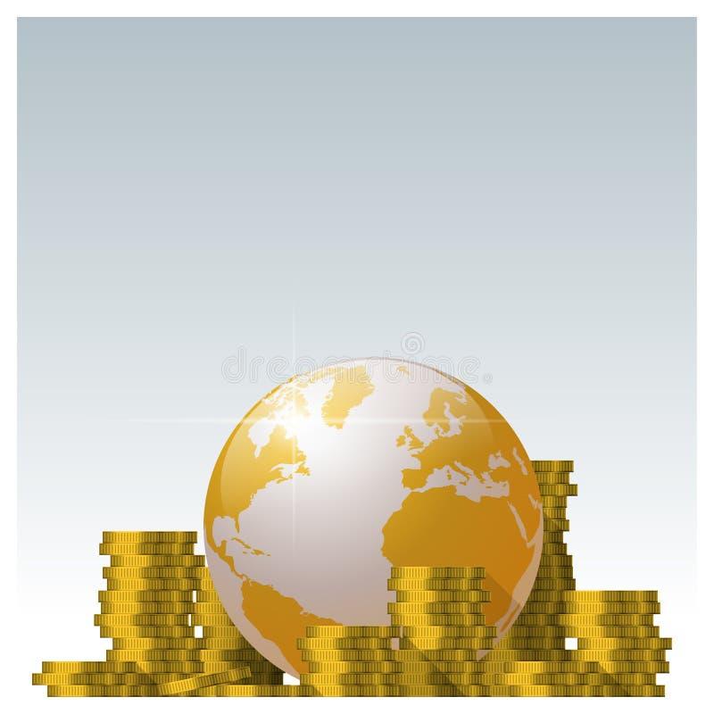 Financieel concept met stapels van muntstuk en de gouden achtergrond van de wereldbol stock illustratie