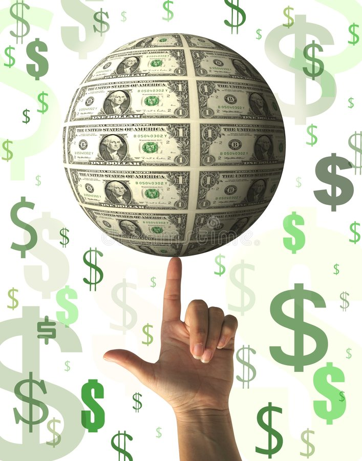 Financieel concept - regenend geld