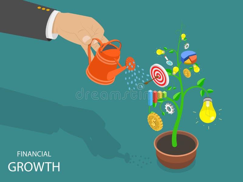 Financieel de groei vlak isometrisch vectorconcept stock illustratie