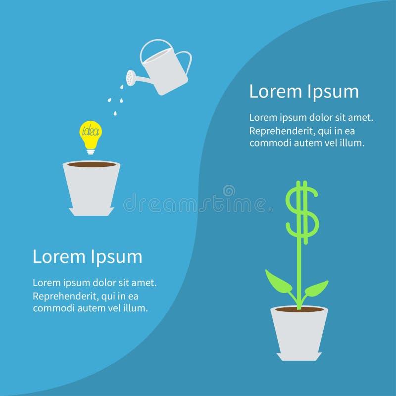 Financieel de groeiconcept Bedrijfs infographic malplaatje Bloempot, gloeilampenidee, gieter, de installatie van de dollarboom Vl vector illustratie