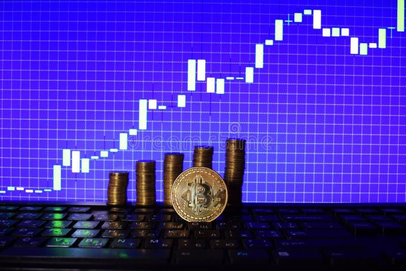Financieel de groeiconcept met gouden Bitcoins-ladder op forex grafiekachtergrond Virtueel Geld royalty-vrije stock foto