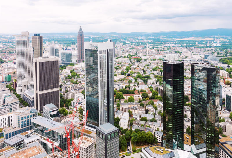 Financieel district in Frankfurt royalty-vrije stock afbeeldingen