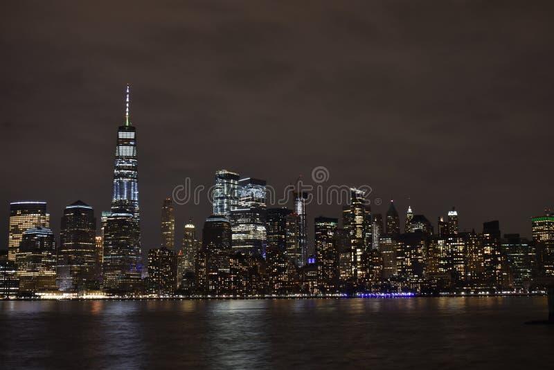 Financieel District, NYC bij Nacht -7 royalty-vrije stock afbeelding