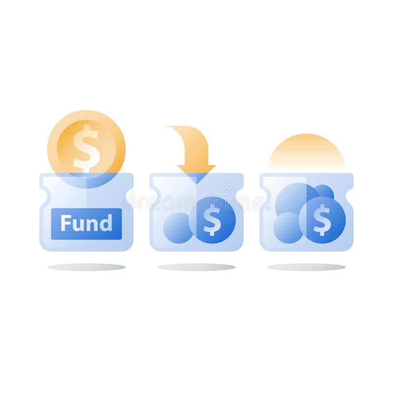 Financieel fonds, het hoogtepunt van de glaskruik van muntstukken, spaarrekening, terugkeer op investering, geldstorting op lange royalty-vrije illustratie