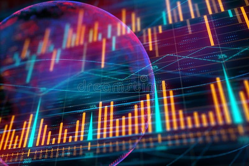 Financieel grafiek en gebied stock illustratie