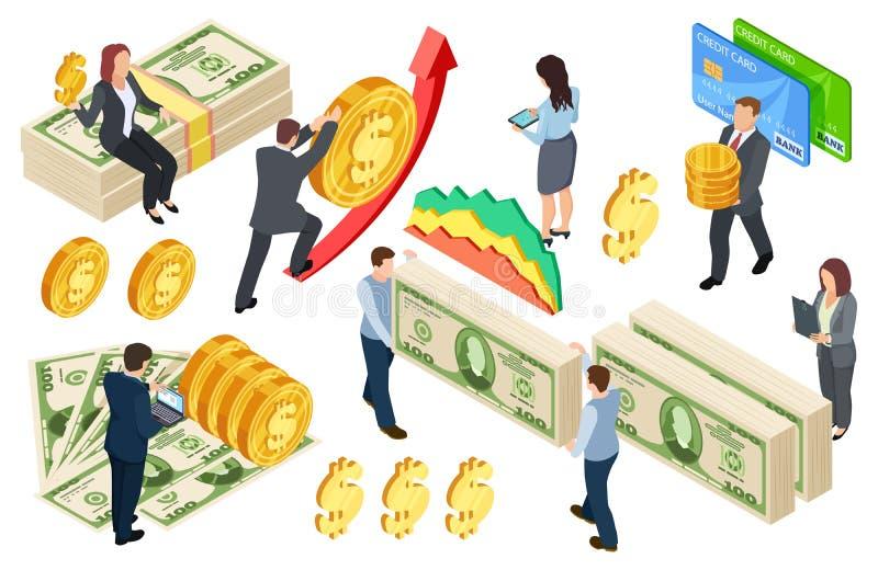 Financieel, het beleggen, kredieten isometrisch vectorconcept met muntstukken en geld royalty-vrije illustratie