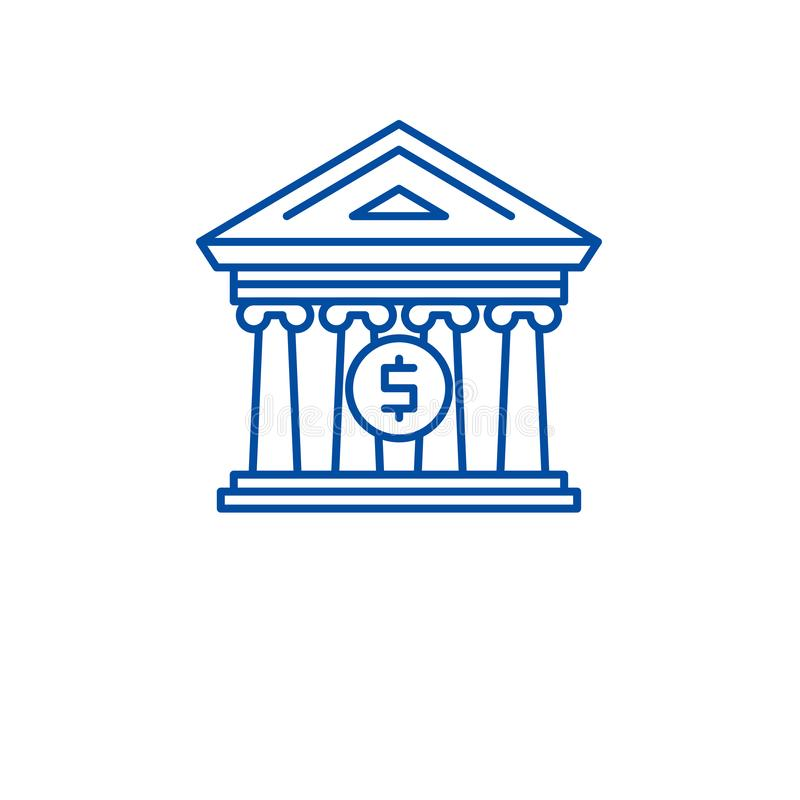 Financieel het pictogramconcept van de organisatielijn Financieel organisatie vlak vectorsymbool, teken, overzichtsillustratie stock illustratie
