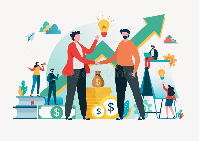 Financieel investeringenconcept Bedrijfsmedewerker innovatie, marketing, analyse Vector illustratie vlak beeldverhaalkarakter vector illustratie