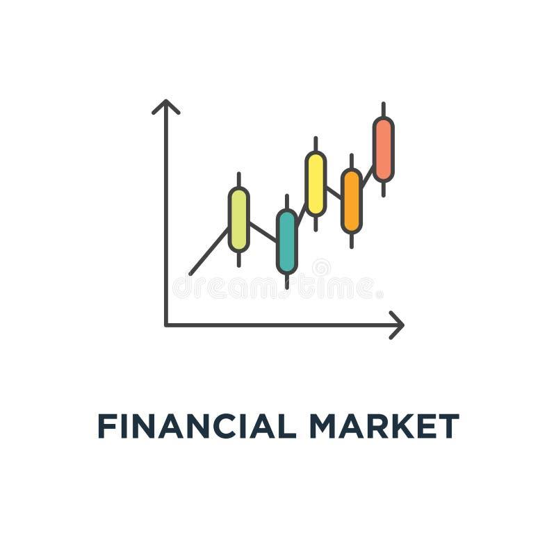 financieel marktkoerspictogram het symboolontwerp van het indexconcept, effectenbeursgrafieken, obligatiemarkt die of op de munt  royalty-vrije illustratie
