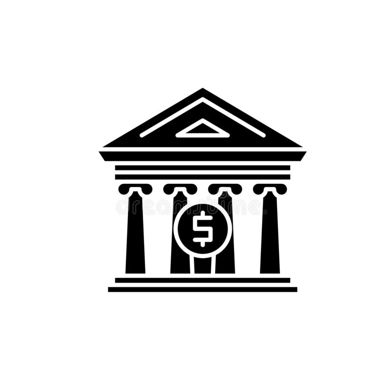 Financieel organisatie zwart pictogram, vectorteken op geïsoleerde achtergrond Het financiële symbool van het organisatieconcept royalty-vrije illustratie